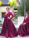 A Line V Neck Long Sleeves Beading Sweep Train Satin Plus Size Prom Dresses JS196