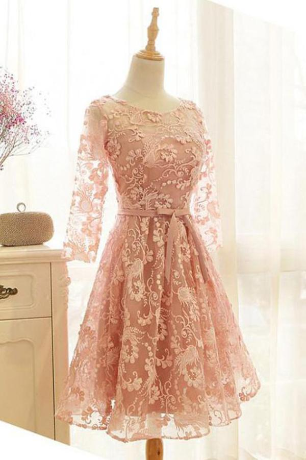 A Line Pink Lace Long Sleeve Open Back Scoop Knee Length Appliques Homecoming Dress JS732