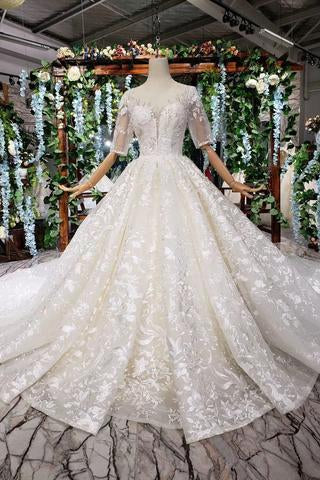 Lace Half Sleeve Round Neck Ball Gown Wedding Dresses Fashion Beads Wedding Gown JS775