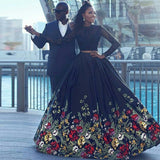 Long Sleeve Two Piece Black Floral Prom Dress with Beading Lace Evening Dresses JS757