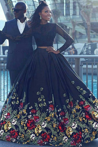 Long Sleeve Two Piece Black Floral Prom Dress with Beading Lace Evening Dresses SSM757
