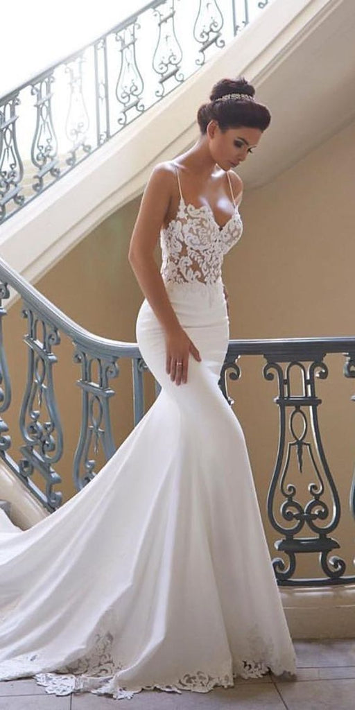 Mermaid Ivory Spaghetti Straps V Neck Wedding Dresses Lace Satin Bridal Dresses JS661