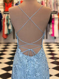 Mermaid Red Lace Spaghetti Straps Scoop Prom Dresses Long Cheap Evening Dresses JS643