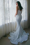 Mermaid Spaghetti Straps Ivory Sweetheart Wedding Dress Lace Bridal Gowns W1002