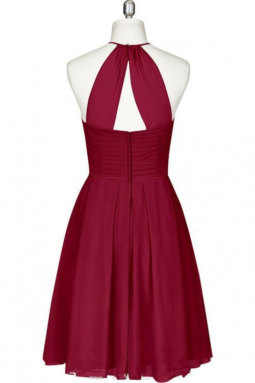 Mini Cute Halter Burgundy Chiffon Knee Length Bridesmaid Dress Short Prom Dresses JS961
