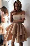 Mini Short A-line Off the Shoulder Above Knee Short Sleeve Prom Dress Cocktail Dresses H1018