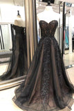 Black Sweetheart Tulle Lace Strapless Beads Prom Dresses with Lace up Evening Dresses JS976