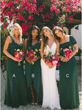 New Style Sheath Sweetheart Chiffon Dark Green Bridesmaid Dresses Wedding Party Dress JS986