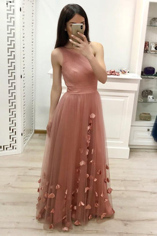One Shoulder A Line Tulle Blush Pink Floor Length Prom Dresses Cheap Long Evening Dress JS902