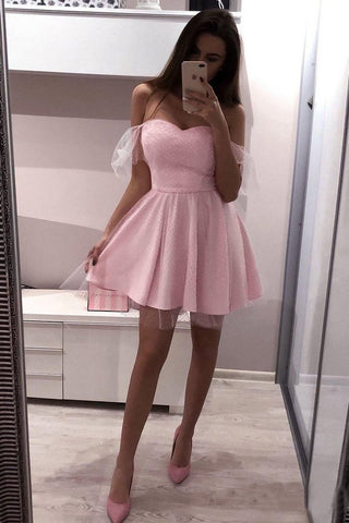 Pink Polka Dot Off the Shoulder Homecoming Dresses Sweetheart Neck Mini Hoco Dress H1041