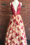 Princess A Line Lace V Neck Red Floral Sexy Long Prom Dresses Simple Evening Dresses P1014