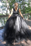 2021 balck organza A-line V-neck bowknot ball gown dresses long prom dresses