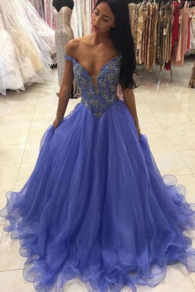 Blue organza V-neck sequins A-line long prom dresses graduation dress for teens