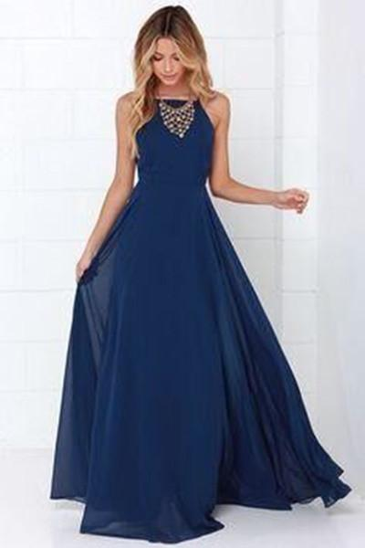 Dark blue chiffon round neck long prom dress evening dress