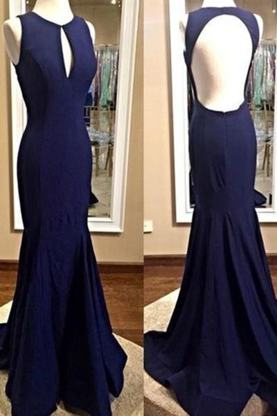 Dark blue chiffon simple mermaid long prom dresses backless prom dresses