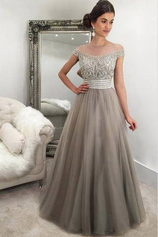 Gray tulle beading off-shoulderA-line long prom dress