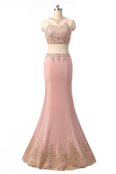 Elegant pink chiffon lace see-through two pieces evening formal dresses