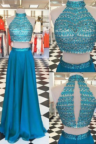 Blue chiffon beading two pieces long dressï¼sexy prom dress