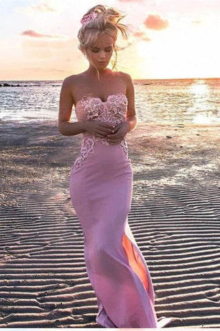 Sexy Mermaid Sweetheart Pink Strapless Satin Sleeveless Prom Dress with Applique Split JS804