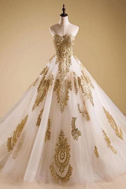Elegant Gold Neck Tulle Strapless Sweetheart Lace Ball Gown Prom Dress Quinceanera Dress SSM447
