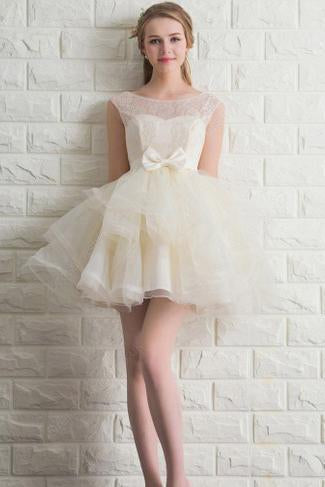 Scoop Neck Lace Tulle Bowknot Organza Lace up Short Prom Dress Homecoming Dresses JS941