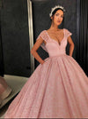 Chic Ball Gown Straps Pink Cap Sleeve Sparkly V Neck Beads Quinceanera Dress with Pockets JS228
