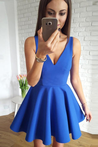 Cute Royal Blue Satin A Line V-Neck Short Homecoming Dress with Ruched Graduation Dress JS567