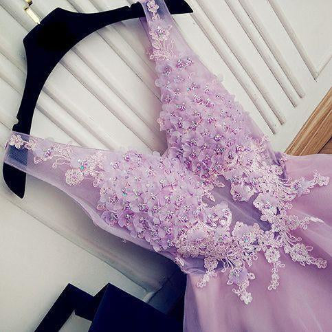 A Line V Neck Lace Appliques Lilac Short Beading Tulle Sleeveless Homecoming Dresses JS976