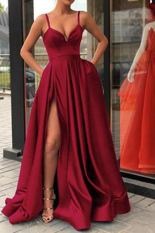 Sexy Burgundy Spaghetti Straps V Neck Satin Prom Dresses with Split Pockets SSM649