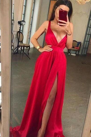 Sexy Chiffon Long Red Prom Dresses Long V Neck Evening Party Dress with Split Slit P1054