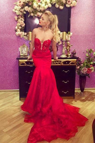 Sexy Red Mermaid Sweetheart Prom Dresses Satin Strapless Long Party Dresses P1072