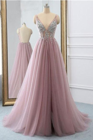 Sexy Slit Beading Tulle Backless V Neck Long Evening Dresses Sleeveless Party Dresses JS929