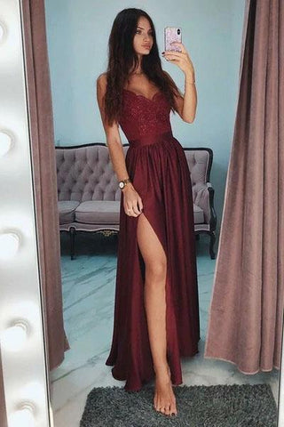 Sexy Slit Burgundy Spaghetti Straps Sweetheart Prom Dresses Long Prom Party Dresses JS620
