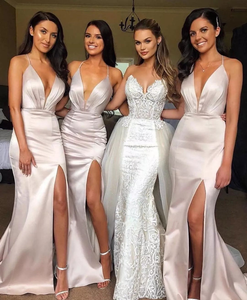 Sexy Slit Mermaid Bridesmaid Dresses Spaghetti Straps Long Wedding Party Dresses JS498