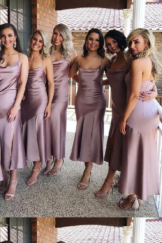 Sheath Spaghetti Straps Tea Length Lilac Bridesmaid Dress With Split Prom Dresses JS919