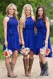 Short A Line Halter Chiffon Blue Bridesmaid Dresses Cheap Prom Dresses JS805