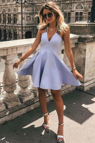 Simple A-Line V Neck Sleeveless Short Lavender Satin Homecoming Dresses H1262