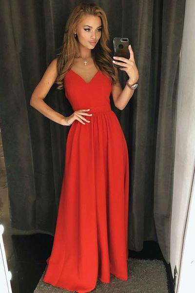 Simple A Line Red Spaghetti Straps V Neck Backless Prom Dresses Long Party Dresses JS705
