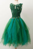 Simple A Line V Neck Short Green Tulle Homecoming Dress With Appliques Beading H1000