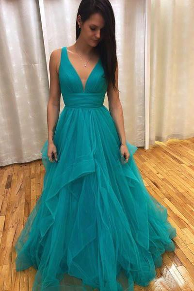 Simple A Line V Neck Tulle Green Criss Cross Prom Dresses Long Evening Dresses P1001