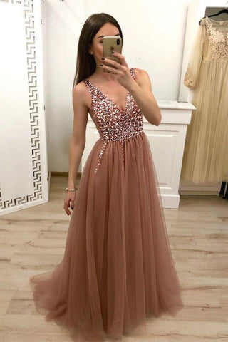 Simple Brown V Neck Beads Prom Dresses Tulle Long Cheap Prom Gowns JS592