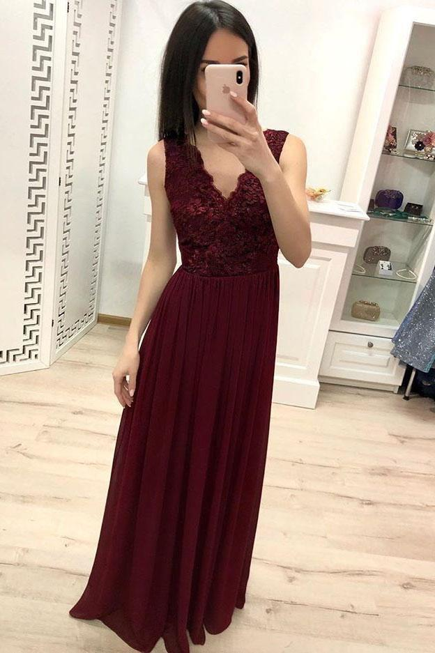 Simple Burgundy Chiffon V Neck Lace Appliques Prom Dresses Long Cheap Prom Gowns JS896