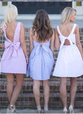 Simple Open Back Above Knee Cheap Short Prom Dress Lavender Open Back Party Dress H1014