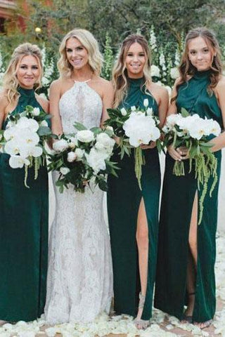 Simple Sheath High Neck Dark Green Bridesmaid Dress with Split Long Prom Dresses JS985