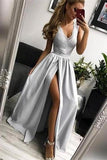 Simple Silver Long V-neck Lace Slit Satin Prom Dresses For Teens Party Dresses P1107