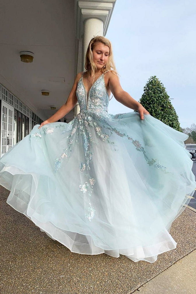 Spaghetti Straps Floral Beading Long Mint Green Prom Dress V Neck Tulle Formal Dress P1003