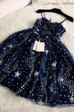 Spaghetti Straps Navy Blue Tulle Sweetheart Homecoming Dresses Short Prom Dresses SSM755