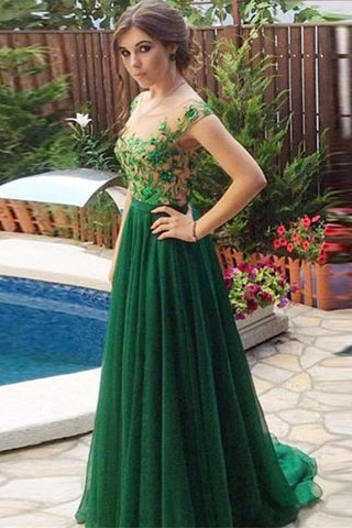 A Line Appliques Cheap Sweetheart Round Neck Green Tulle Long Prom Dresses SSM54