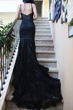 Charming Black Lace Spaghetti Strap Sweetheart Backless Mermaid Sweep Train Evening Dresses JS249