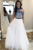 Unique A Line Halter White Tulle Prom Dresses Long Cheap Evening Dresses SSM712